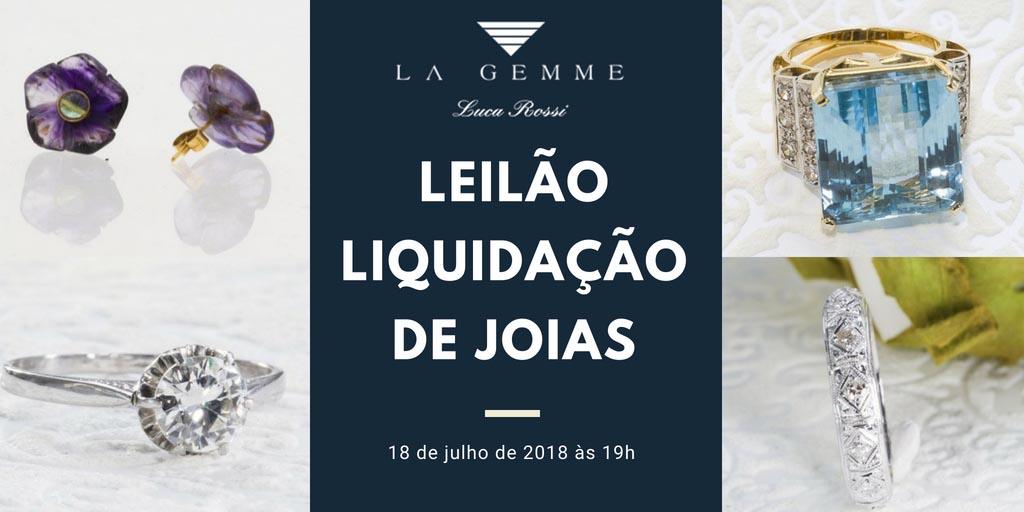 3426452de4db6 Leilão com liquidação de joias de alto padrão da La Gemme Luca Rossi  acontece no dia 18 de julho de 2018